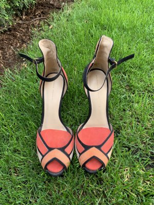 Zara Tacones de tiras rojo claro-naranja oscuro
