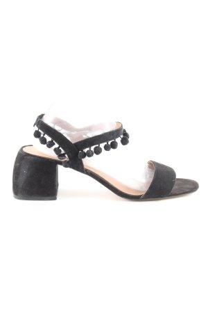 Zara Sandalias de tacón de tiras negro look casual