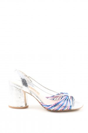 Zara Riemchen-Sandaletten silberfarben-blau Elegant