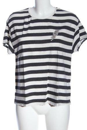 Zara Koszulka w paski czarny-biały Wzór w paski W stylu casual