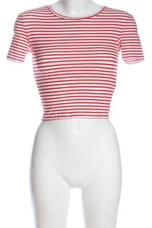 Zara Gestreept shirt wit-rood volledige print casual uitstraling