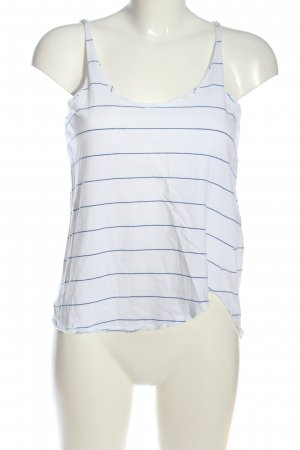 Zara Basic Top weiß-blau Streifenmuster Casual-Look