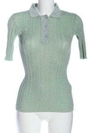 Zara Prążkowana koszulka zielony W stylu casual