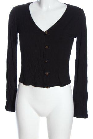 Zara Prążkowana koszulka czarny W stylu casual