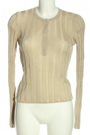 Zara Ribbed Shirt cream striped pattern casual look