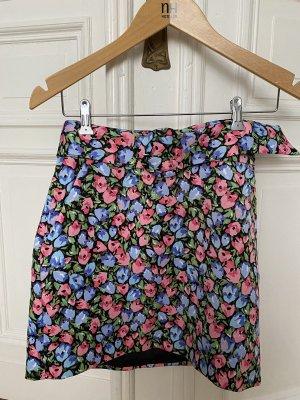 Zara Rock Blumen Muster Gürtel rosa blau vintage Style S