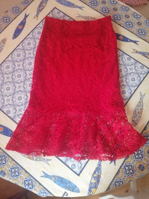 Zara Lace Skirt red