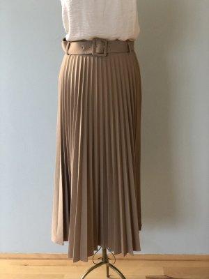 Zara Falda plisada marrón claro