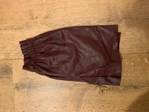 Zara Jupe taille haute bordeau-brun rouge