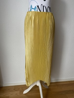 Zara Rock mit Falten Faltenrock Plissee Rock Senfgelb gelb Gr M