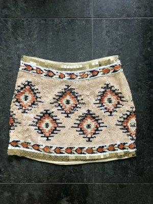 Zara Rock mit Pailletten Azteken Muster Gr. 36 super Zustand!