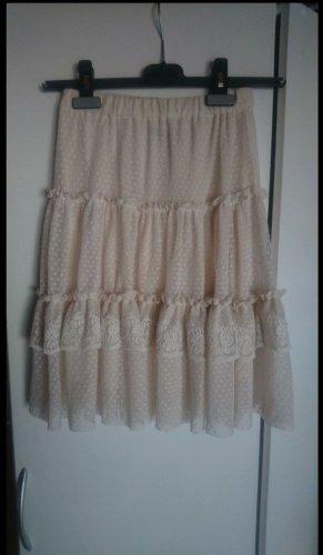 Zara Kanten rok nude-stoffig roze