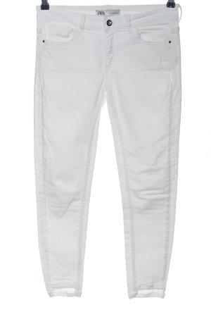 Zara Spodnie rurki biały W stylu casual