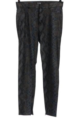 Zara Röhrenhose schwarz-blau Animalmuster Elegant