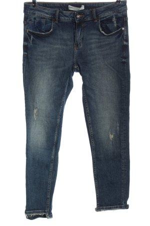 Zara Jeansy rurki niebieski W stylu casual