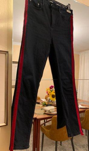 Zara Pantalon cigarette noir-rouge brique