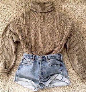 Zara Sweter z golfem jasnobrązowy