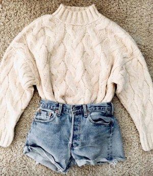 Zara Sweter z golfem kremowy
