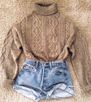 Zara Jersey de cuello alto marrón claro