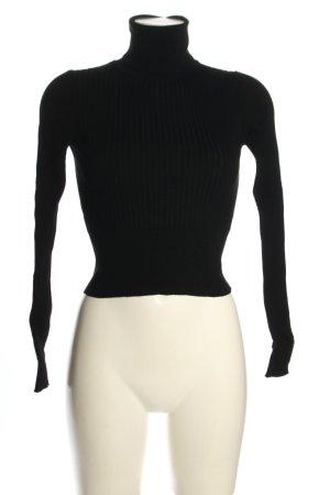 Zara Rollkragenpullover schwarz Streifenmuster Casual-Look