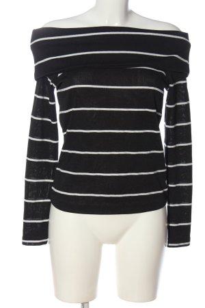 Zara Feinstrickpullover schwarz-weiß Streifenmuster Casual-Look