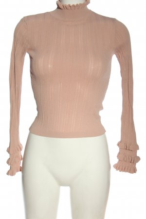 Zara Rollkragenpullover nude Streifenmuster Casual-Look