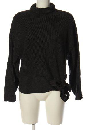 Zara Rollkragenpullover schwarz Zopfmuster Elegant