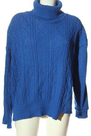 Zara Rollkragenpullover blau Zopfmuster Casual-Look