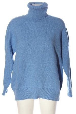 Zara Rollkragenpullover blau meliert Casual-Look
