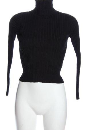 Zara Rollkragenpullover schwarz Streifenmuster Elegant