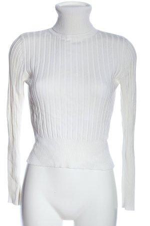Zara Rollkragenpullover weiß-türkis Streifenmuster Casual-Look