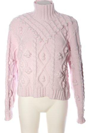Zara Rollkragenpullover pink Zopfmuster Casual-Look