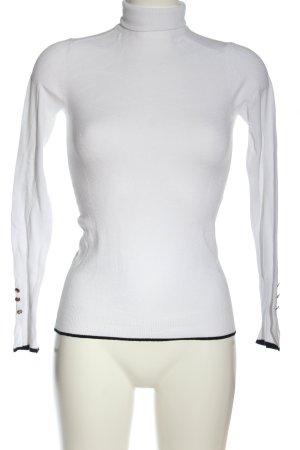 Zara Rollkragenpullover weiß-schwarz Casual-Look