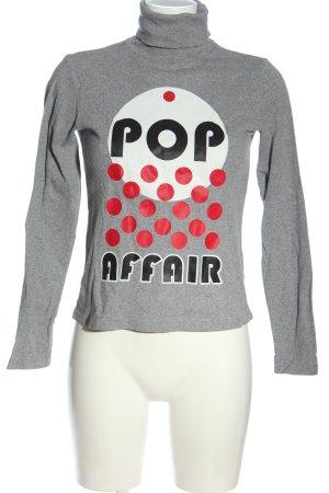 Zara Maglia a collo alto grigio chiaro puntinato stile casual