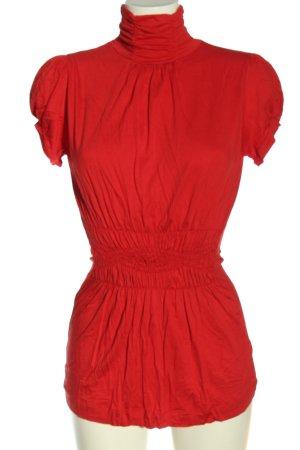 Zara Koszulka z golfem czerwony Elegancki