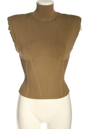 Zara Top con colletto arrotolato marrone stile casual