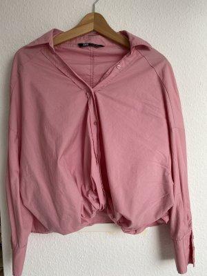 Zara Rosa hemd crop mit knoten am Saum