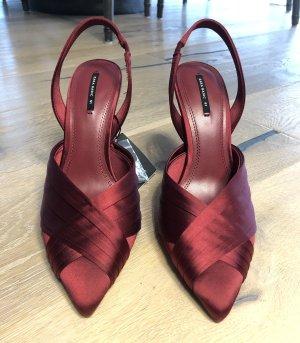 Zara rote Absatzschuhe aus Satin / Pumps / Sandalen / Satin Schuhe / Rote Schuhe / Abendschuhe / NEU