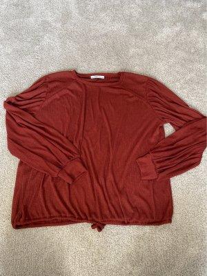 Zara rotes Langarmshirt aus transparentem Stoff
