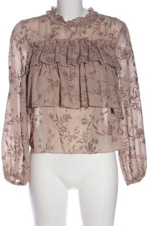 Zara Bluzka z falbankami w kolorze białej wełny-brązowy Wzór w kwiaty