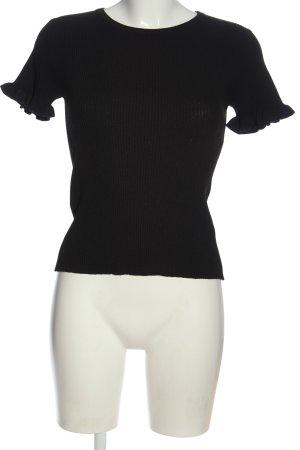 Zara Rüschen-Bluse schwarz Casual-Look