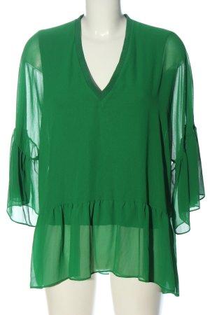 Zara Rüschen-Bluse grün Casual-Look