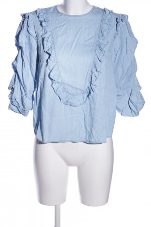Zara Rüschen-Bluse blau Casual-Look