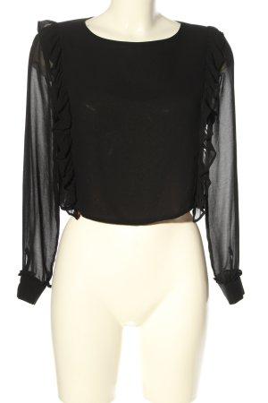 Zara Rüschen-Bluse schwarz Elegant
