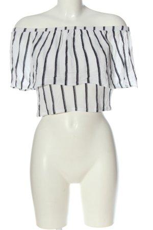 Zara Blouse Carmen blanc-noir motif rayé style décontracté