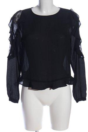 Zara Bluzka z falbankami czarny W stylu casual