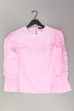 Zara Rüschenbluse Größe M Langarm pink aus Baumwolle