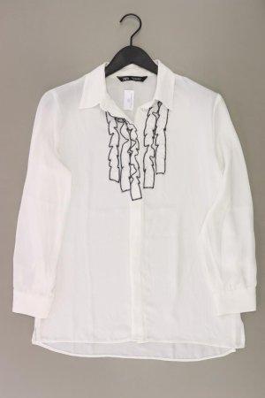 Zara Rüschenbluse Größe S Langarm weiß aus Polyester