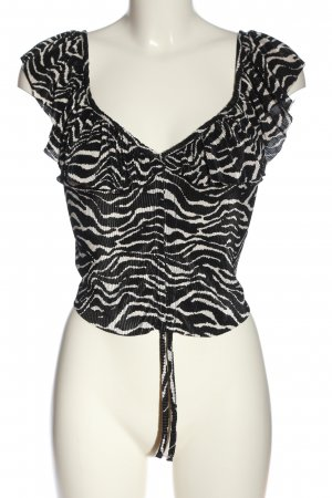 Zara Frill Top black-natural white allover print casual look