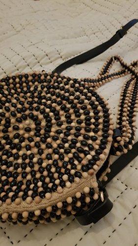 ZARA Runde Tasche Bag Perlen Holz